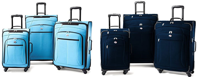 Four wheeled rolling suitcases. Spinner luggage is great for wheelchair travel.