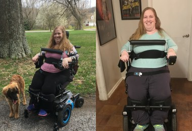 Two photos of Karin Willison using a standing wheelchair, Permobil F5 VS.