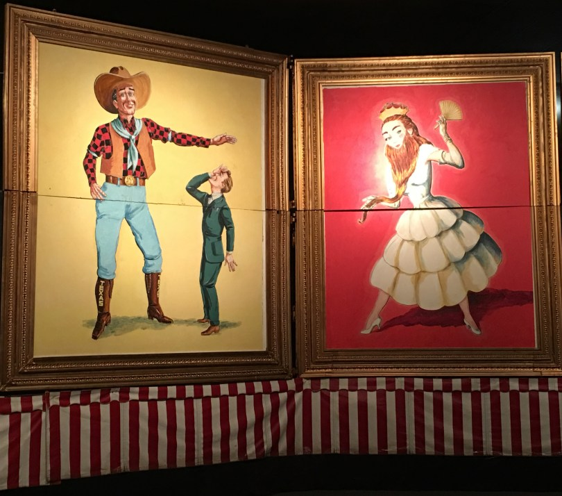 Vintage sideshow performers depicted in paintings at the wheelchair accessible Sarasota, Florida Ringling Circus Museum.