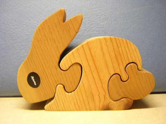 Toddler Puzzle Cute 3 Piece Rabbit Puzzle