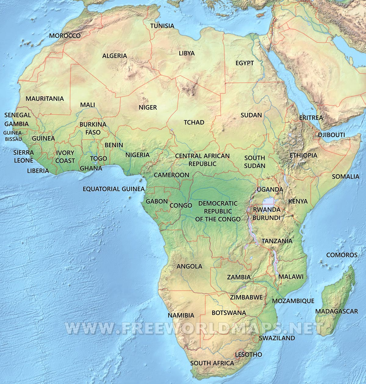 Africa Physical Map Freeworldmaps