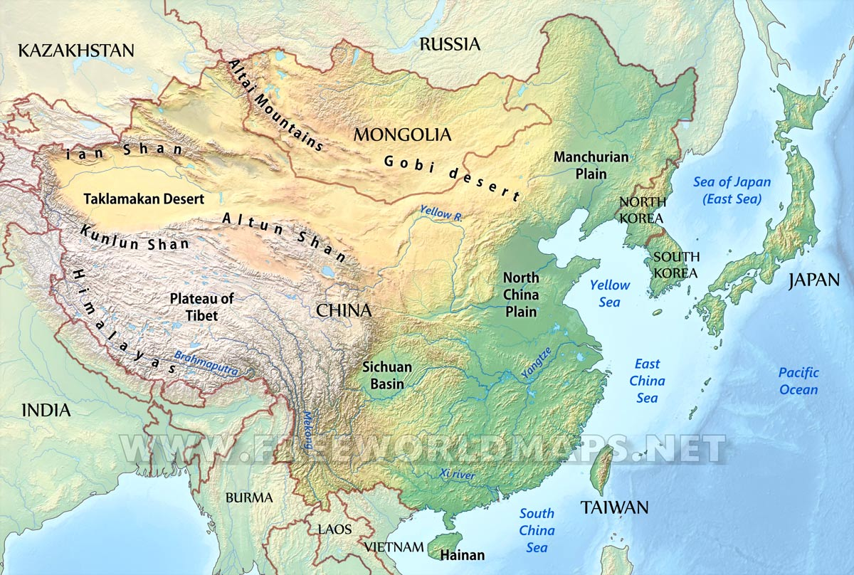 East Asia Physical Map
