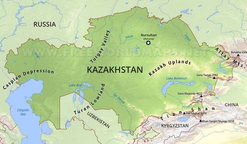 Russia Physical Map Kazakh Uplands on