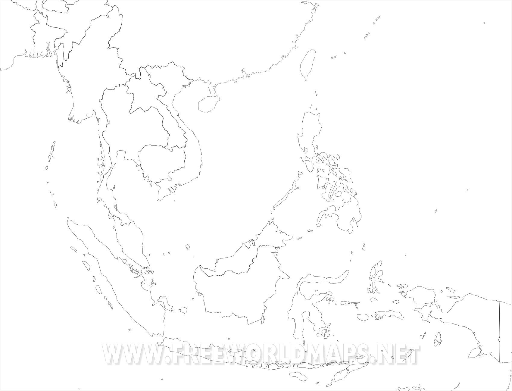 Unmarked Map Of Asia