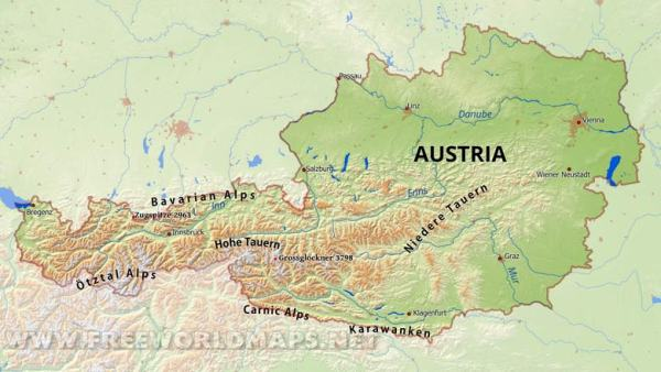 Austria Physical Map