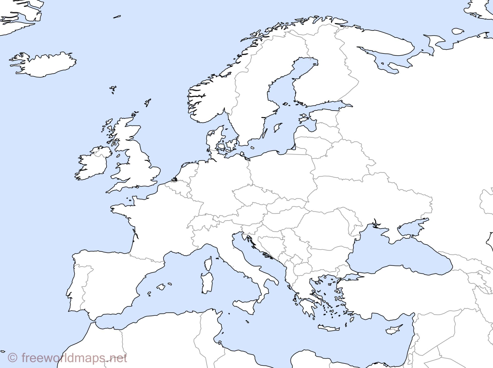 Europe Outline Maps