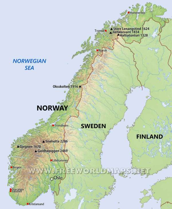 Norway Physical Map