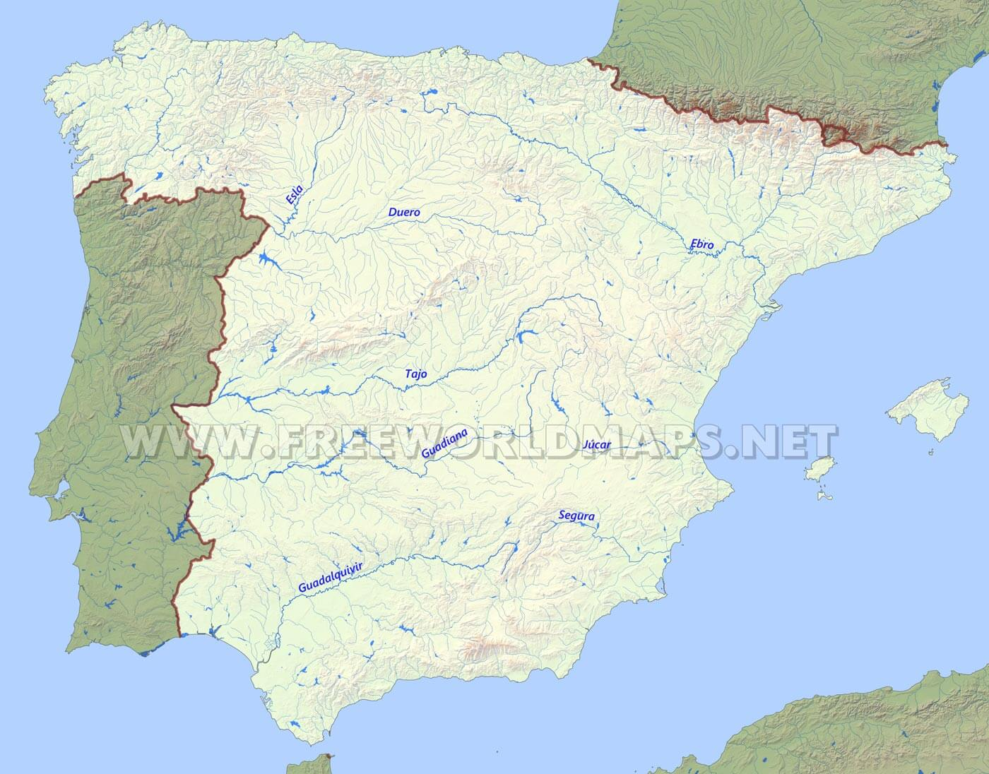 Spain Map With Rivers