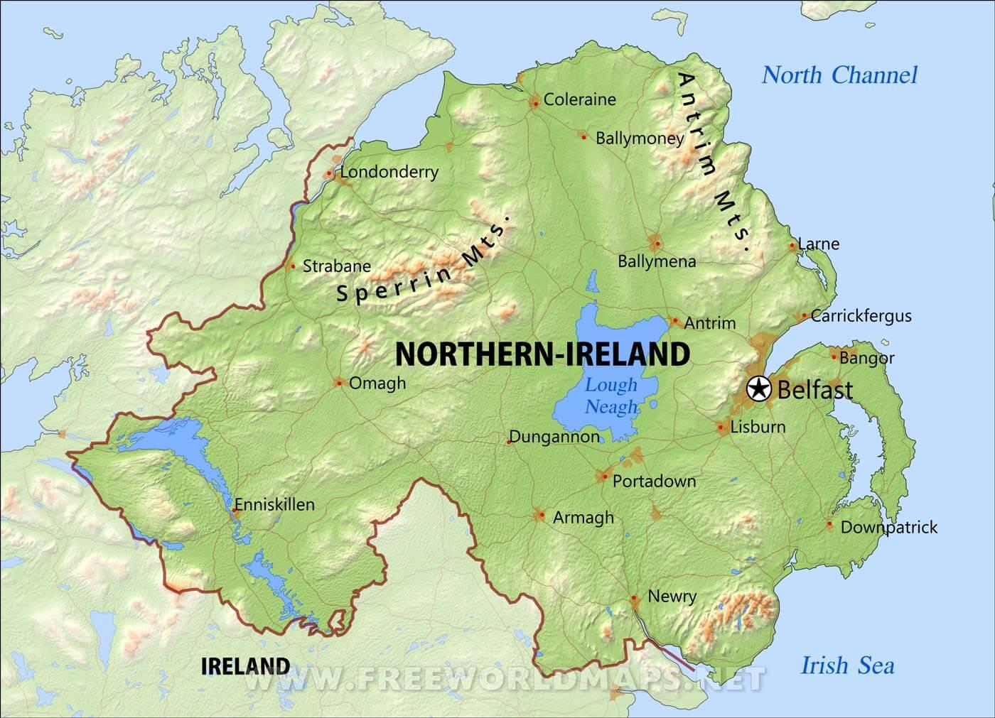 Detailed Map Map Ireland Mountains