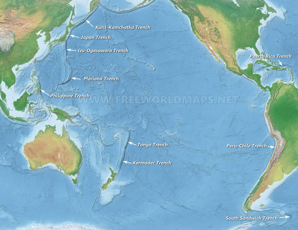 Oceanic Trenches By Freeworldmaps Net