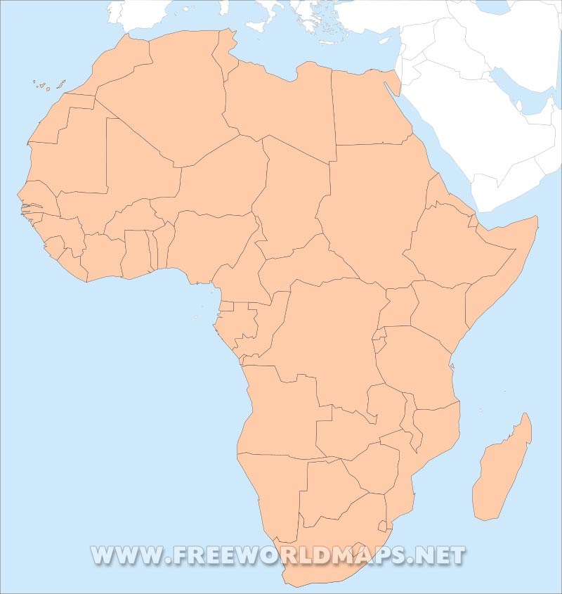 Map Africa Without Country Names Adghanistan