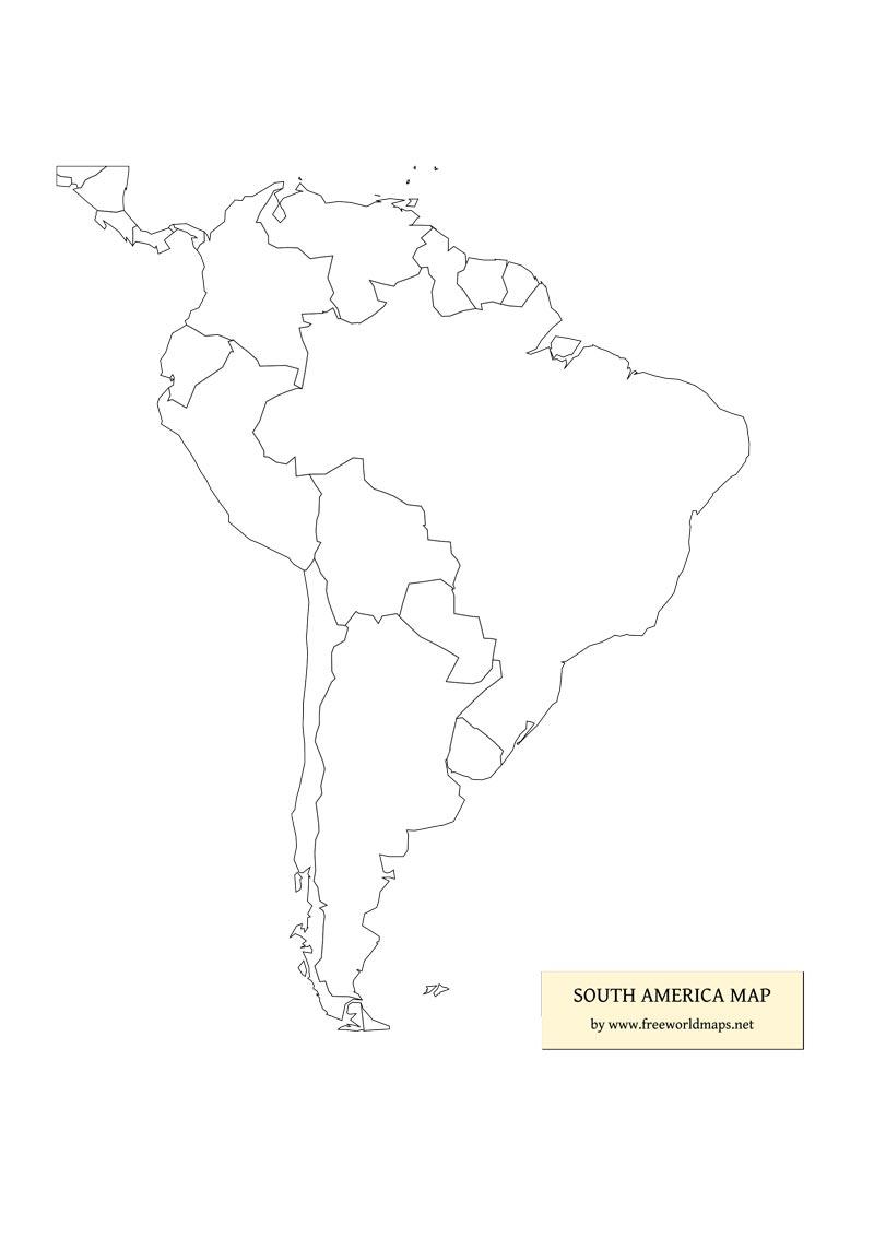 Printable Blank Map Of South America Pdf
