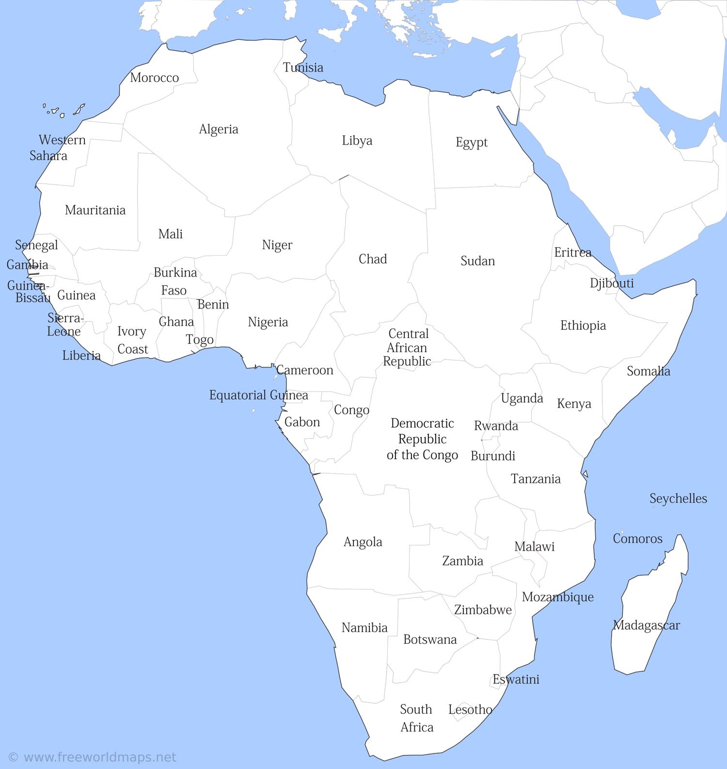 Africa Printable Maps By Freeworldmaps