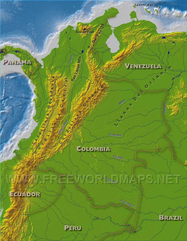 Colombia Physical Map