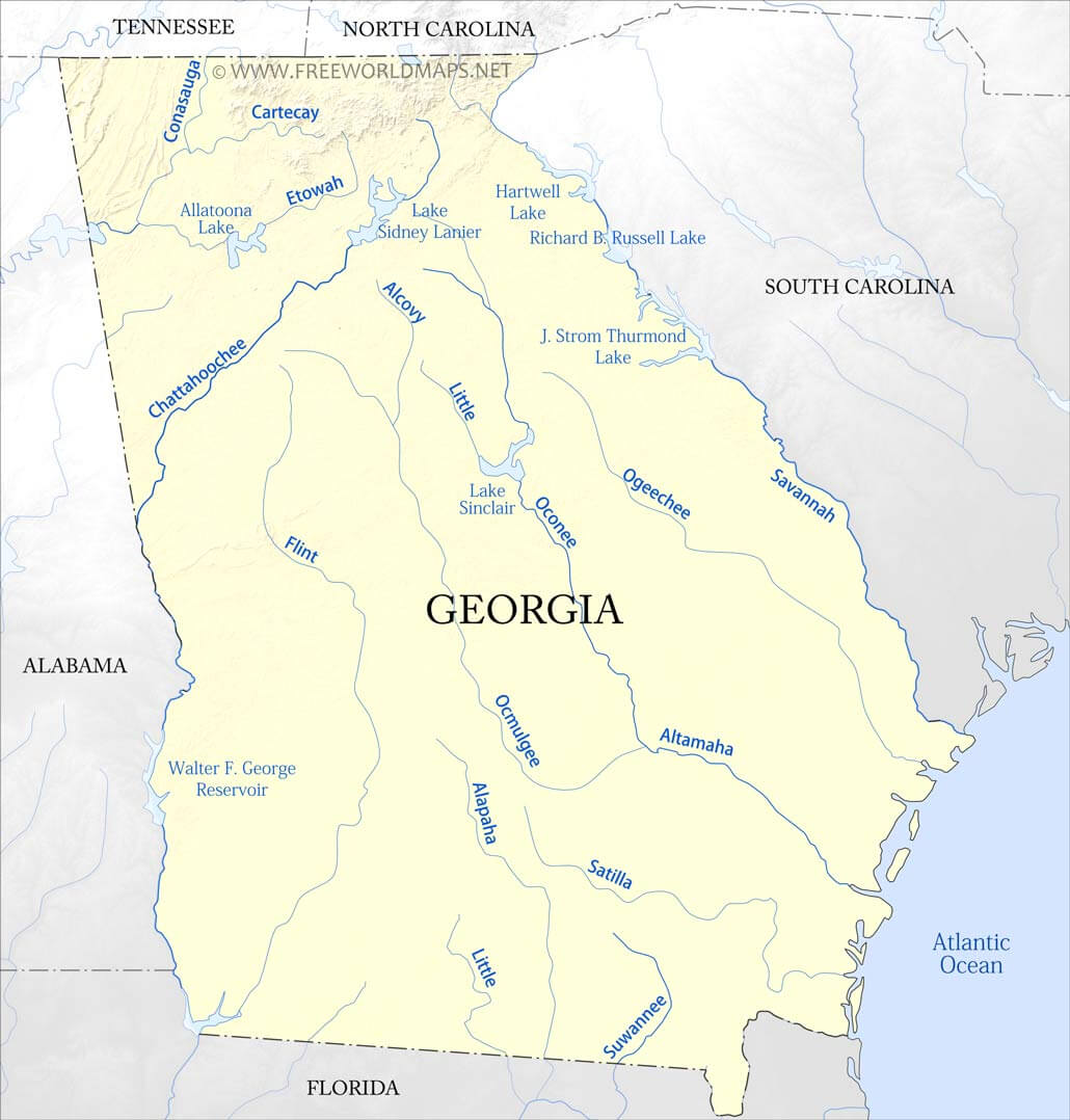 Physical Map Of Georgia
