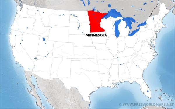 Where is Minnesota located on the map
