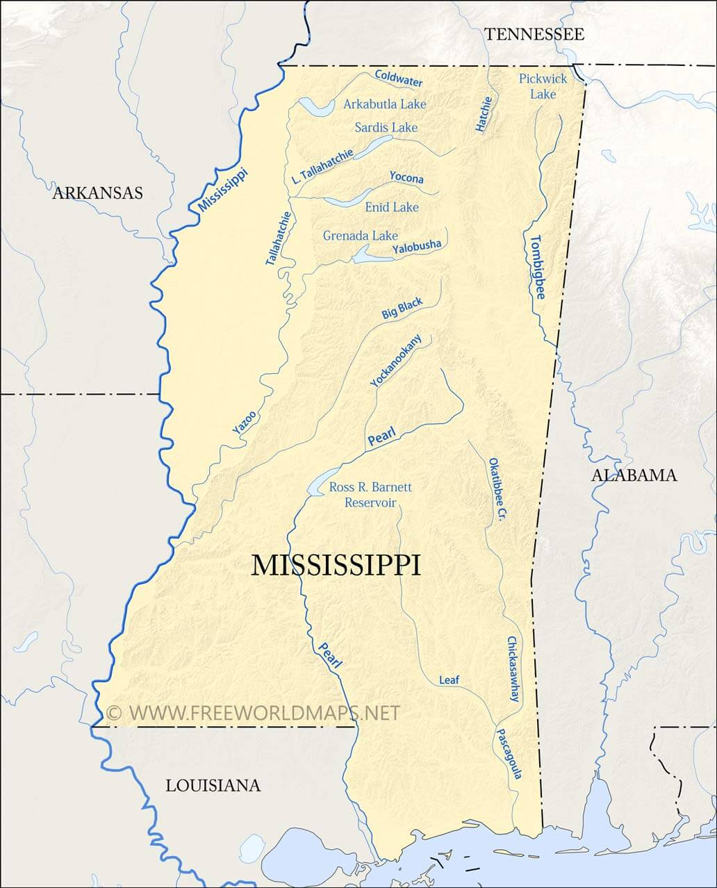 The mississippi river basin encompasses more than 40 percent of the u.s. Physical Map Of Mississippi