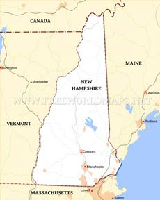 Where is New Hampshire located on the map