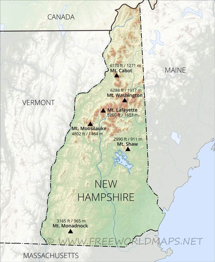 The connecticut river forms its border with vermont to the west. Physical Map Of New Hampshire