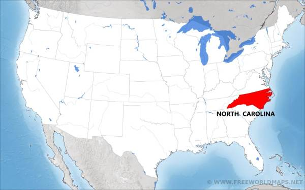 Where is North Carolina located on the map