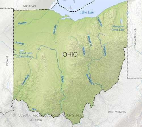 Physical map of Ohio