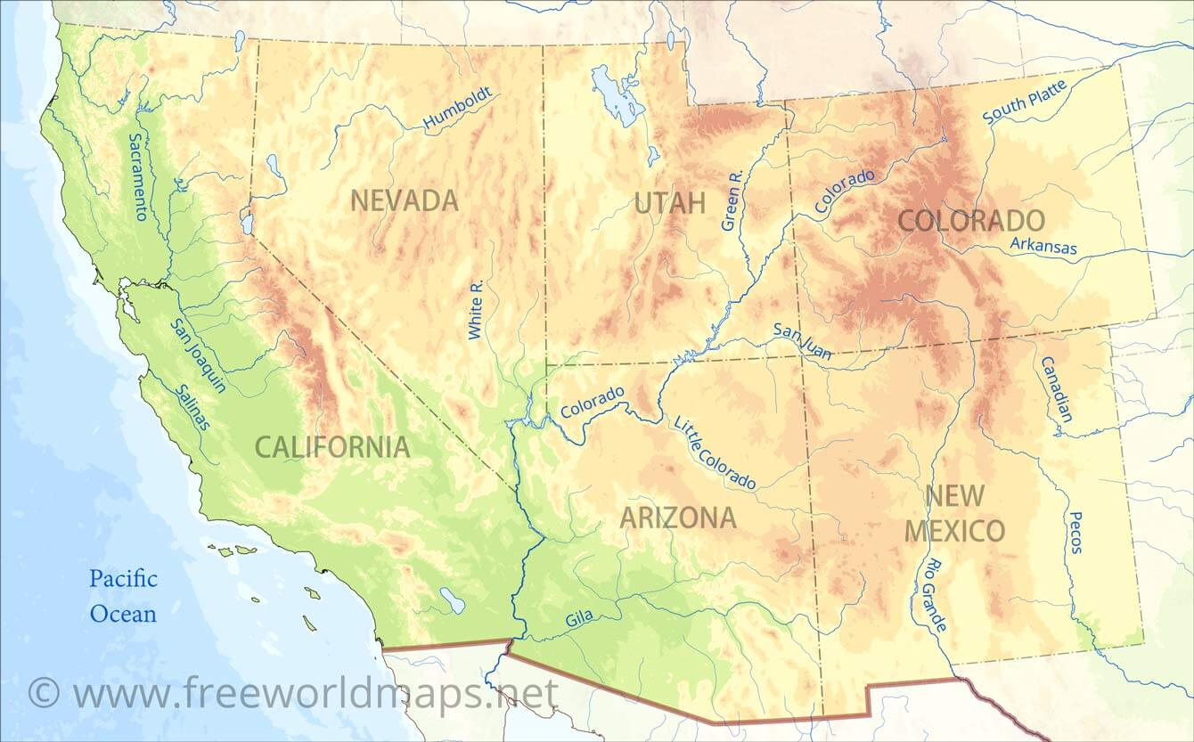 Southwestern Us Physical Map