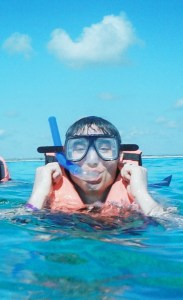 Who is this snorkeling?