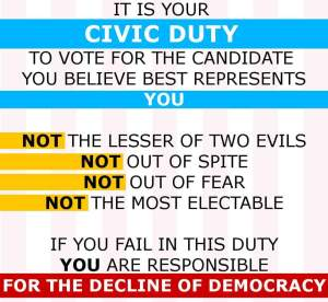 It is your civic duty to vote for the candidate that best represents you and: not the lesser of two evils; not out of spite; not out of fear; not the most electable. If you fail in this duty you are responsible for the decline of democracy.