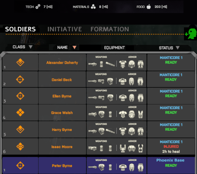 Squad roster with soldiers in jet separated from base (Phoenix Point)