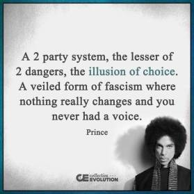 A 2 Party system, the lesser of 2 dangers, the illusion of choice. A veiled form of fascism where nothing really changes and you never had a voice. - Prince