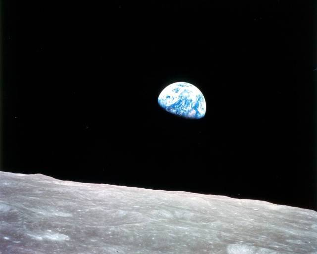 Earth Rise Over the Moon from the Apollo 8 Mission
