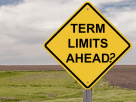 "Yellow street sign with black letters saying ""Term Limits Ahead?"""