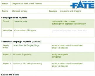 Campaign Description Sheet example