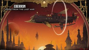 Fancy cover from the setting book Eberron - Rising from the Last War - depicting an elemental powered air ship