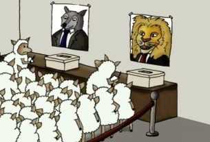 Lesser of Two Evil Voting - Sheep Voting for Wolf or Lion