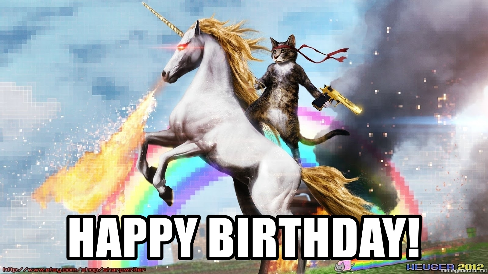 Happy Birthday - Cat with a golden gun riding a fire breathing unicorn