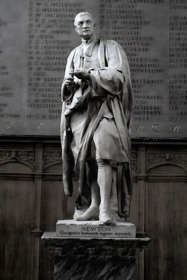 The Sir Isaac Newton Statue at Trinity College Chapel