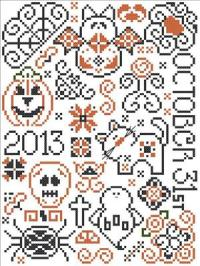 Halloween Quaker Free Cross Stitch Pattern Preview