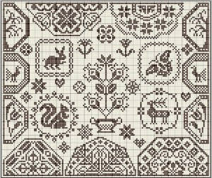 free quaker cross stitch pattern preview