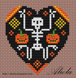 skeleton heart free cross stitch pattern