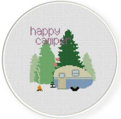 happy camper free cross stitch pattern