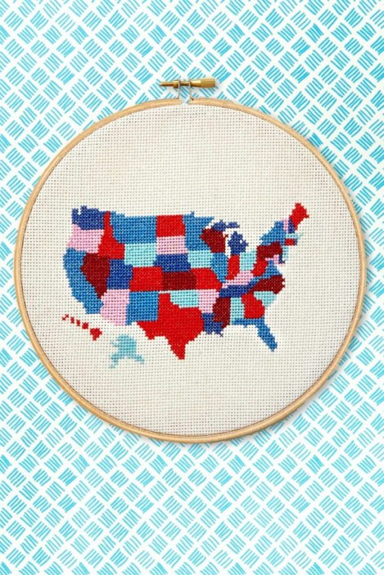 America state by state free cross stitch pattern in red white and blue