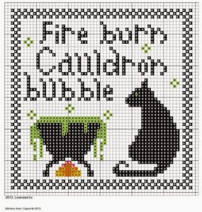fire burn cauldron bubble free cross stitch pattern preview