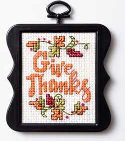 Give Thanks free cross stitch pattern from PlaidOnline