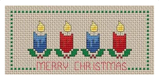 merry christmas candles free bookmark cross stitch