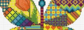 free butterfly cross stitch pattern from DMC, patchwork butterfly