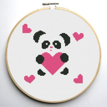 free panda heart cross stitch pattern