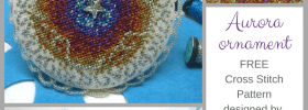 Aurora Ornament available as free cross stitch download from Kreinik website