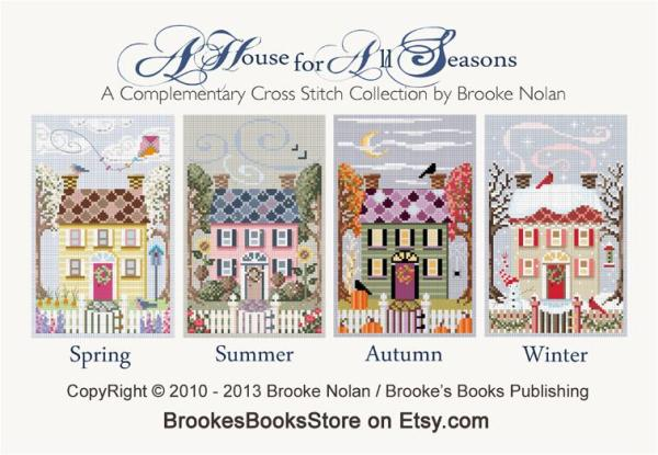 Houses for All Seasons a free cross stitch pattern collection from Brooke's Books