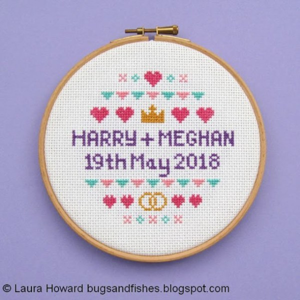 Free Cross Stitch Pattern Celebrating the Royal Wedding of Prince Harry to Meghan Markle